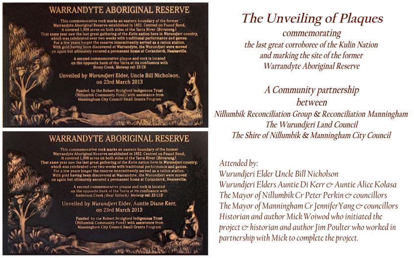Warrandyte Reserve Plaques